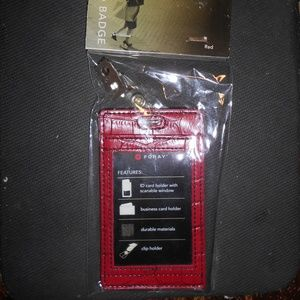 FORAY Red ID BADGE Holders Faux Leather
